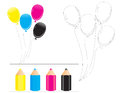 Drawing coloring page for kids b for balloon with color sample isolated on white background Royalty Free Stock Photo