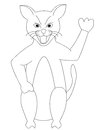 Drawing coloring page kids c cat isolated white background Stock Photos