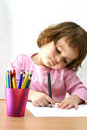 Drawing with crayons Royalty Free Stock Photo