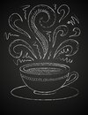 Drawing of cup of coffee on blackboard hand drawn vector illustration white and curly ornaments concept image coffeehouse Royalty Free Stock Photos