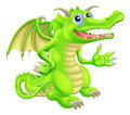 Drawing of a cute happy green cartoon dragon Royalty Free Stock Photo