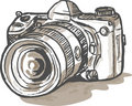 Drawing digital SLR camera Royalty Free Stock Photo