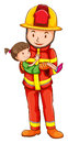 A drawing of a fireman rescuing a young girl illustration on white background Stock Photo