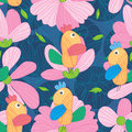 Drawing Flower Line Art Bird Seamless Pattern Royalty Free Stock Photo