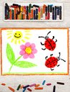 Drawing: flower, sun and ladybugs on white paper background Royalty Free Stock Photo