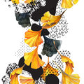 Drawing of ginkgo leaves, ink doodle, grunge, water color paper textures.