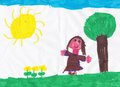 Drawing of a girl of asylum depicting a little girl in field during beautiful sunny day Stock Photography