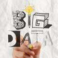 Drawing graphic design big data word as concept close up of business hand Stock Images