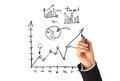 Drawing graphs and charts idea concept Stock Images