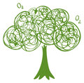 A drawing of a green tree illustration on white background Stock Photos