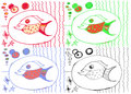Drawing from hand of child, image of big fish Royalty Free Stock Photo