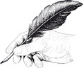 Drawing of hand with a feather pen vintage in style an engraving Royalty Free Stock Image