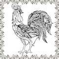 Drawing hands monochrome decorative rooster in floral frame. Decorative rooste with floral ornament for anti Stresa Coloring.