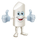 A drawing of a happy cartoon chalk stick man giving a double thumbs up Stock Image