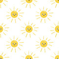Drawing of happy smiling sun. Doodle. Pattern.