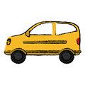 Drawing hatchback car vehicle side view Royalty Free Stock Photo