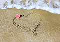 Drawing a heart with rose and sea on sandy beaches of the mediterranean Royalty Free Stock Photos