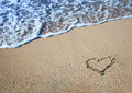 Drawing heart on the sand Royalty Free Stock Image