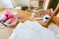 Drawing of home renovation in room full painting tools Stock Photos
