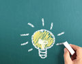 Drawing idea light bulb the Stock Photography
