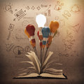 Drawing idea pencil and light bulb concept outside the book as c creative vintage style Royalty Free Stock Photo