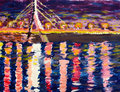 Drawing in impressionists manner bridge and a river in the nig kiev moscow through dnipro Royalty Free Stock Photo