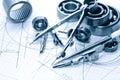 Drawing Instrument And Ball Bearing Royalty Free Stock Photo