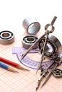 Drawing Instrument And Ball Bearings Royalty Free Stock Photo
