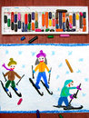 stock image of  Drawing: Kids learning to ski