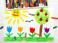 Drawing: landscape with apple tree, tulip flowers an happy sun. Royalty Free Stock Photo