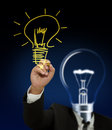 Drawing light bulb Royalty Free Stock Images