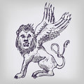 Drawing lion with wings big Royalty Free Stock Image