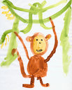 Drawing made child - Monkey and green lianas Stock Photo