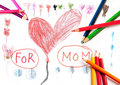 Drawing for Mom Royalty Free Stock Images