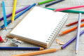 Drawing-pad and color pencils Royalty Free Stock Photo