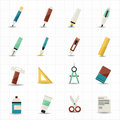 Drawing painting tools icons and stationery this image is a vector illustration Stock Photos