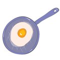 Drawing pan with fried egg Stock Photo