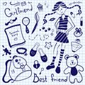Drawing pen on notebook sheet girlfriend a set of accessories and things of a young girl Royalty Free Stock Images