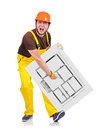 Drawing plan apartment builder holding poster with Royalty Free Stock Image
