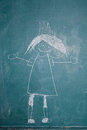 Drawing of princess on chalkboard by child Royalty Free Stock Images