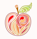 Drawing red apple Royalty Free Stock Image
