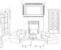 Drawing-room with fireplace. Editable vector furniture. Interior in retro style