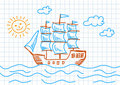 Drawing of sailboat Royalty Free Stock Images