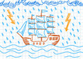 Drawing of sailboat Stock Images