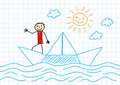 Drawing of sailboat Stock Photos