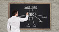 Drawing seo scheme young businessman on blackboard Royalty Free Stock Image