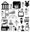 Drawing Set of Business and Communication Cartoon Concepts Royalty Free Stock Photo
