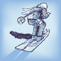 Drawing skier in the snow Royalty Free Stock Photo