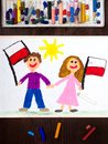 Drawing: Smiling children, boy and girl, waving Polish flags. Polish patriotism. Independence Day in Poland