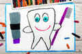 Drawing: smiling healthy tooth holding a toothpaste and a toothbrush Royalty Free Stock Photo